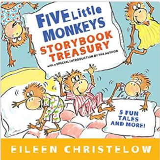"""Book cover of """"Five Little Monkerys"""". Image on cover of 5 monkeys jumping on a bed."""