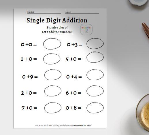 horizontal single digit addition worksheet for 1st graders