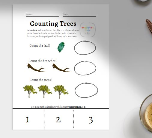 Counting object worksheet. Count leaves, branches, and trees.