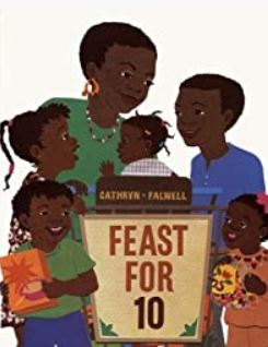 """Image of book cover """"Feast for 10"""". Cartoon Black family wearing fall colors pictured on cover."""