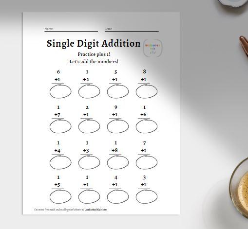 vertical single digit addition