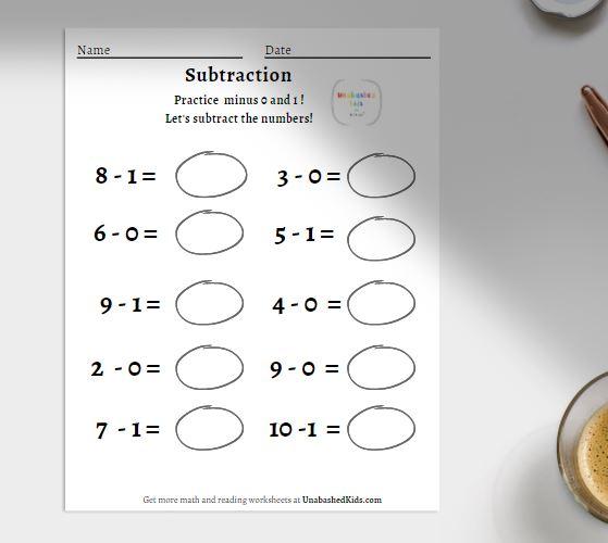 horizontal subtraction worksheet