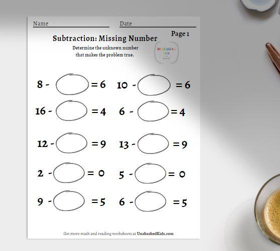 un-known number subtraction worksheet
