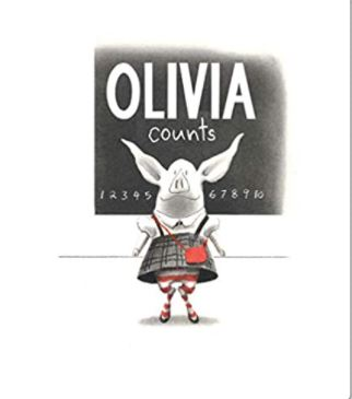 """Book cover of """"Olivia Counts"""" Image of Olivia in grey and red dress."""