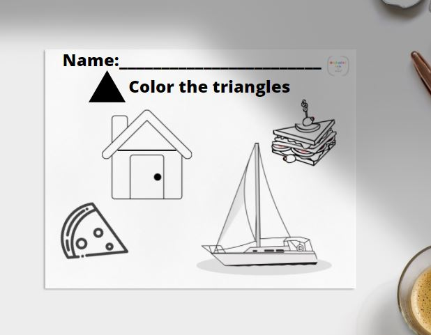 color the triangle worksheet