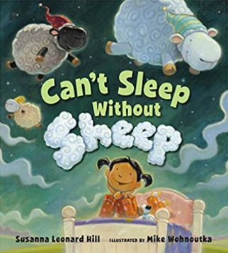 """Cover image of children's book """"Can't Sleep Without Sheep"""". Black girl sitting on a bed with sheep flying over her head."""