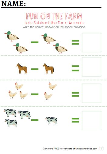 farm animal subtraction worksheet