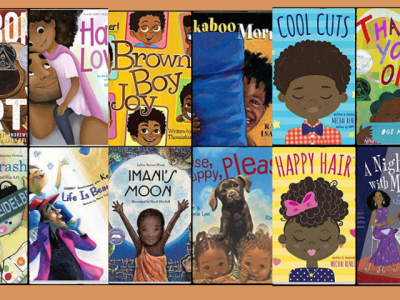 Front cover of children's books written by black authors with black main characters.