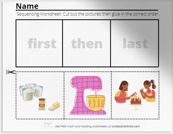 Sequencing worksheets baking