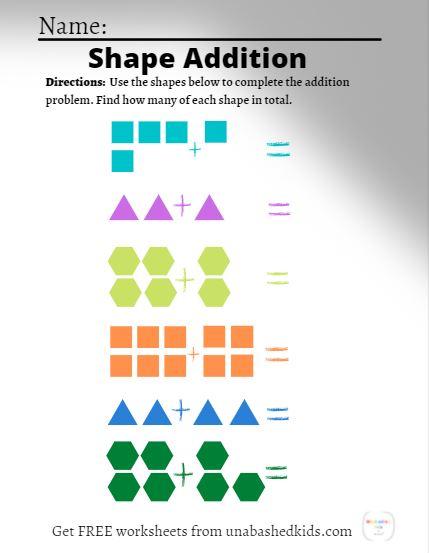 FREE shape object addition worksheet