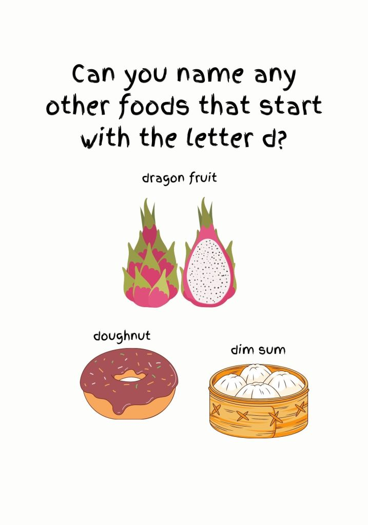 Foods that start with letter D. From the book ABC! Name My Food!